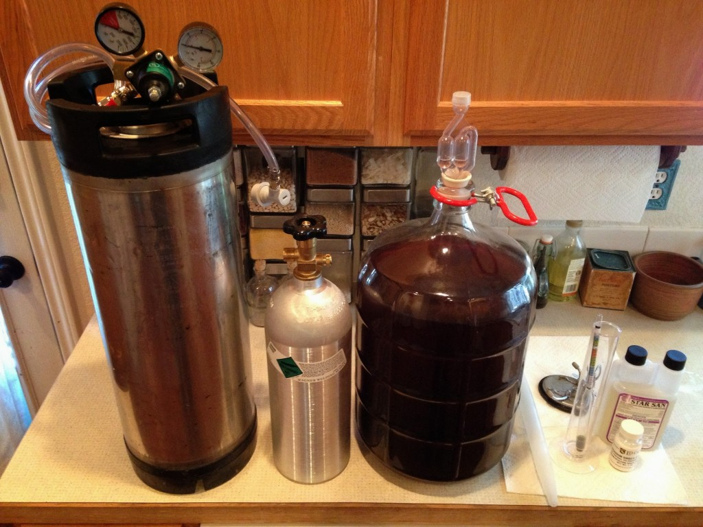 Keg, Regulator, CO2 bottle, mead (!!!), testing and sanitizing equipment.